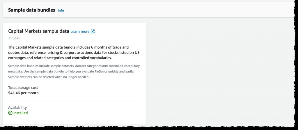FinSpace install sample dataset