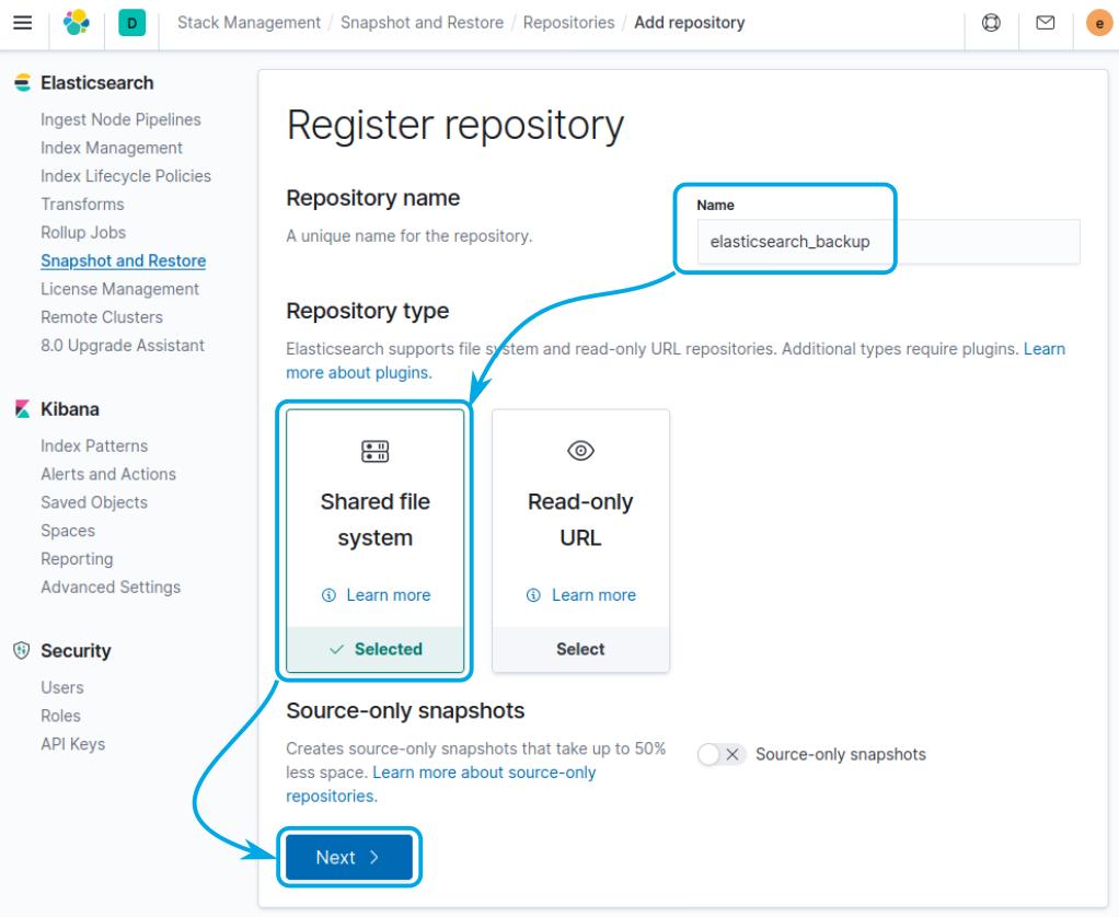 Register repository at Elastic Stack