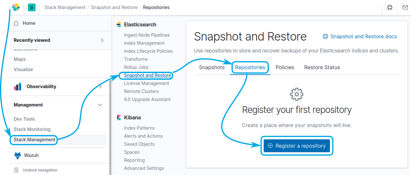 Elastic Stack Management, Register a repository