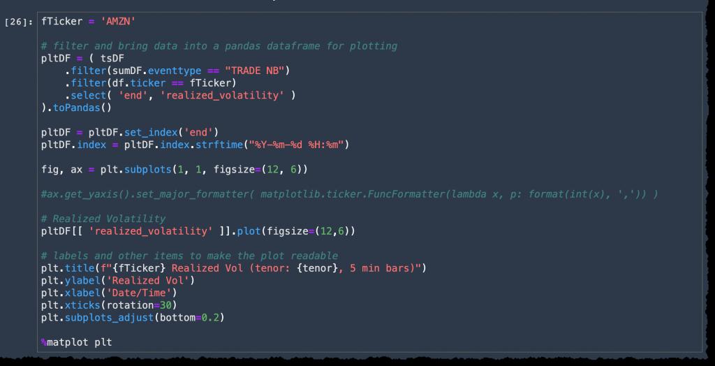 finspace plot realized volatility code