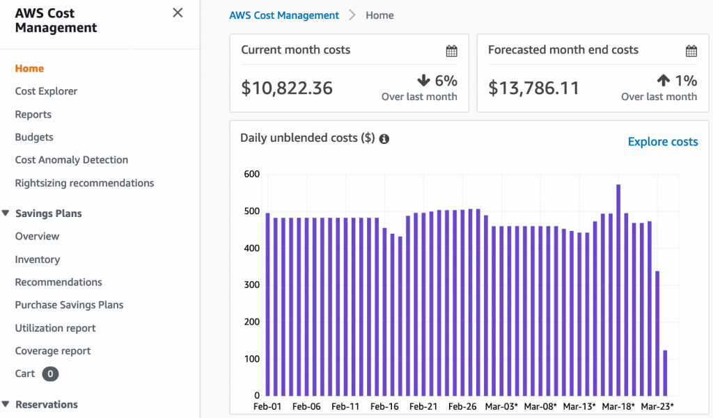 Cost management console