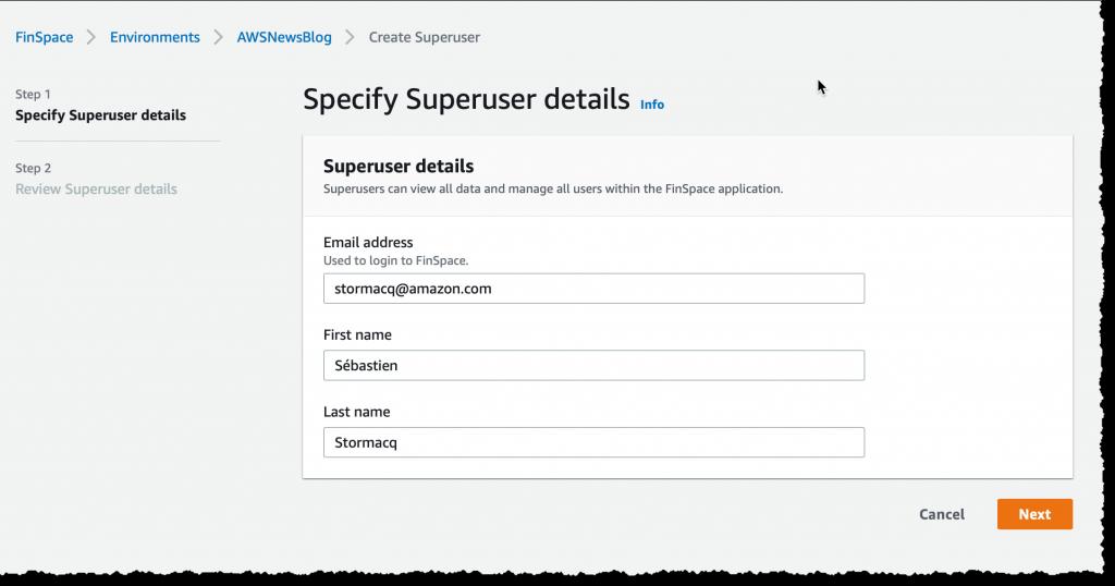 Finspace create super user 2