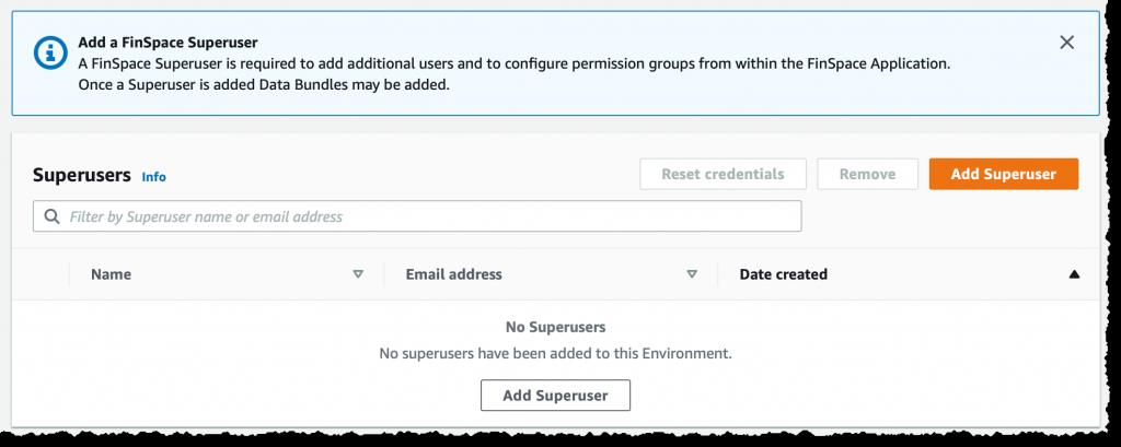 Finspace create super user 1