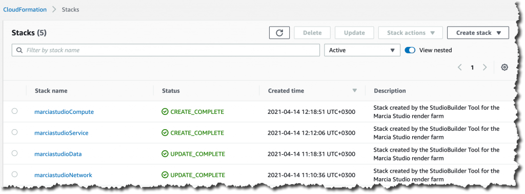 Screenshot of stacks completed in CloudFormation