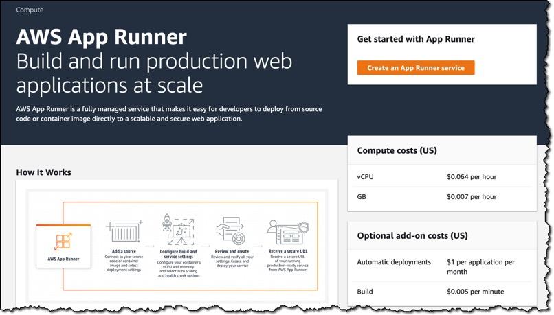 Screenshot of the App Runner Console