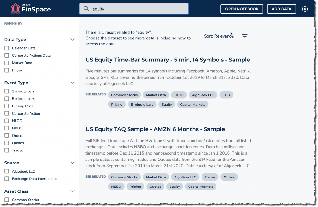 finspace search equity