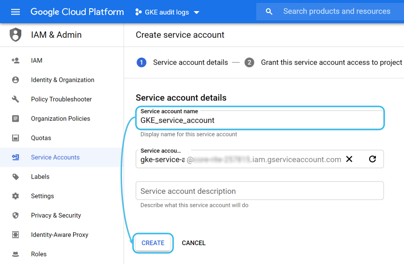 Google Cloud service account name