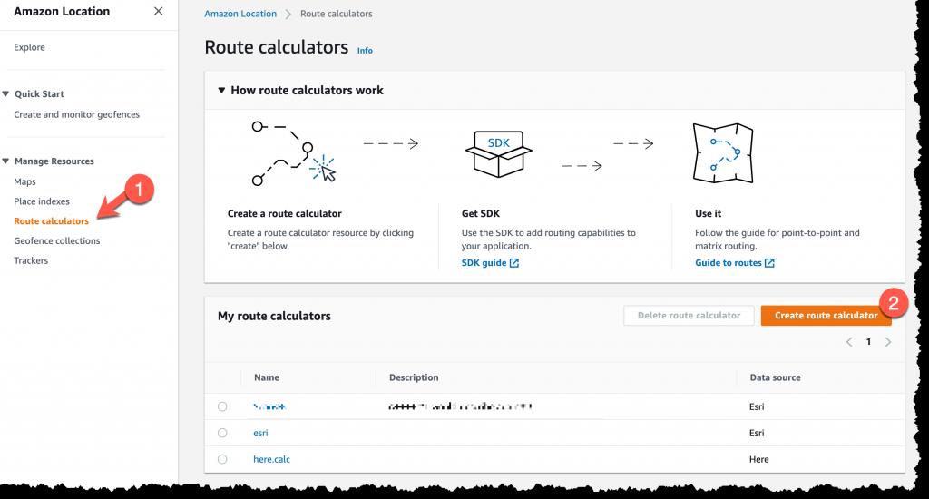 Screenshot of create a new routing calculator